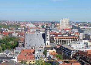 Innenstadt von Leipzig mit der Thomaskirche