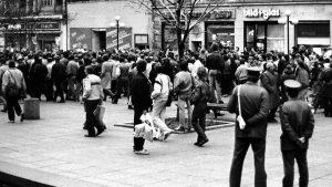 Demonstration von Ausreisewilligen am 13.03.1989 in Leipzig