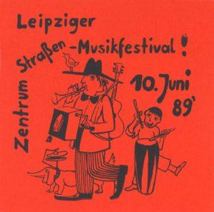 Flugblatt zum Straßenmusikfestival am 10. Juni 1989