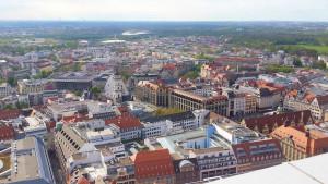 Die Leipziger Innenstadt vom City-Hochhaus