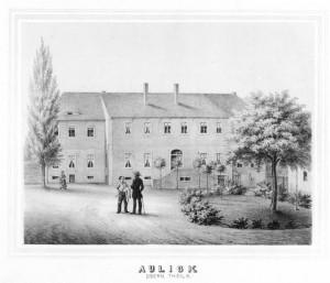 Historische Ansicht des Rittergutes Auligk Obern Teils