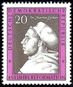 Luther auf einer Briefmarke der DDR zum 450. Reformationsjubiläum 1967