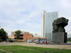 Mercure Hotel, Stadthalle und Karl-Marx-Monument Chemnitz