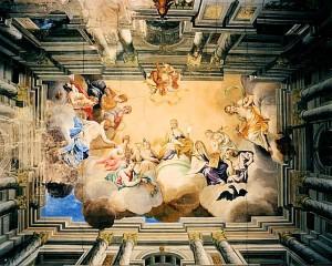 Deckengemälde im Festsaal des Schlosses Wiederau (Quelle: www.burgerbe.de)
