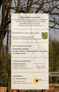 Rittergut Großzschepa, Bauschild
