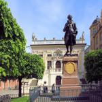 Alte Handelsbörse Leipzig und Goethedenkmal