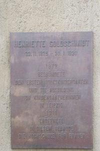 Gedenktafel für Henriette Goldschmidt in Leipzig
