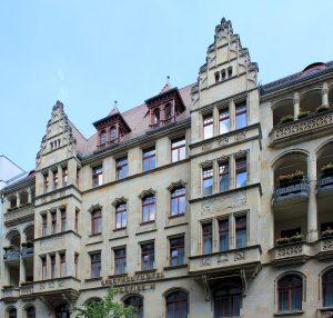 Wohn- und Geschäftshaus Bodenstein Leipzig, Fassade Markgrafenstraße