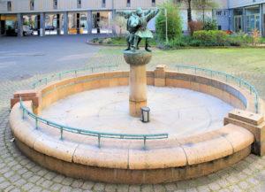 Hof im Wohnblock am Markt Leipzig, Brunnen