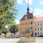 Marktbrunnen und Rathaus Frohburg