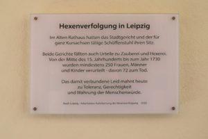 Gedenktafel für die Hexenverfolgung in Leipzig