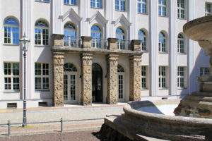 Portal des Ringmessehauses in Leipzig