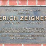 Lindenau, Gedenktafel Erich Zeigner