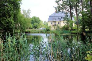 Wasserburg Auerswalde, Rest des Wassergrabens hinter dem Herrenhaus