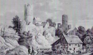 Burg Kohren, Stich von Ludwig Richter um 1820