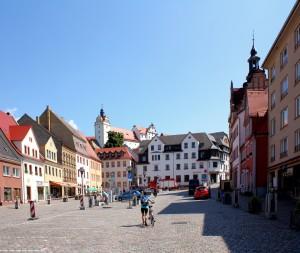Marktplatz und Schloss in Colditz