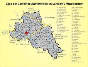 Lage der Gemeinde Altmittweida im Landkreis Mittelsachsen