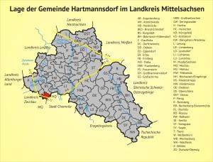 Lage der Gemeinde Hartmannsdorf im Landkreis Mittelsachsen