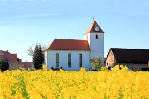 Die Kirche in Tellschütz im Frühjahr 2014