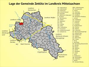 Lage der Gemeinde Zettlitz im Landkreis Mittelsachsen