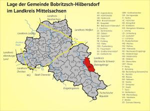 Lage der Gemeinde Bobritzsch-Hilbersdorf im Landkreis Mittelsachsen