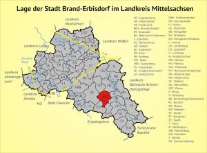 Lage der Stadt Brand-Erbisdorf im Landkreis Mittelsachsen