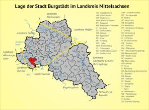 Lage der Stadt Burgstädt im Landkreis Mittelsachsen