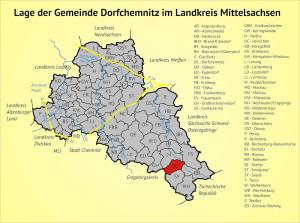 Lage der Gemeinde Dorfchemnitz im Landkreis Mittelsachsen