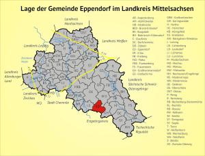 Lage der Gemeinde Eppendorf im Landkreis Mittelsachsen