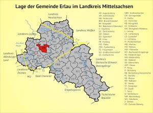 Lage der Gemeinde Erlau im Landkreis Mittelsachsen