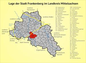 Lage der Stadt Frankenberg im Landkreis Mittelsachsen