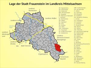 Lage der Stadt Frauenstein im Landkreis Mittelsachsen