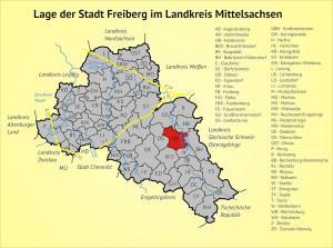 Lage der Stadt Freiberg im Landkreis Mittelsachsen