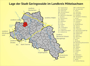 Lage der Stadt Geringswalde im Landkreis Mittelsachsen