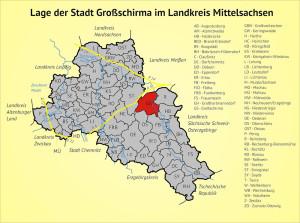 Lage der Gemeinde Großschirma im Landkreis Mittelsachsen