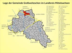 Lage der Gemeinde Großweitzschen im Landkreis Mittelsachsen