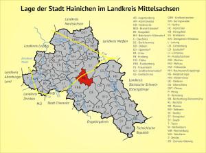 Lage der Stadt Hainichen im Landkreis Mittelsachsen