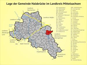 Lage der Gemeinde Halsbrücke im Landkreis Mittelsachsen