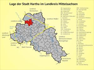 Lage der Stadt Hartha im Landkreis Mittelsachsen
