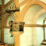 Jagdschloss Augustusburg, Kanzel in der Schloskapelle, Postkarte 1980er Jahre