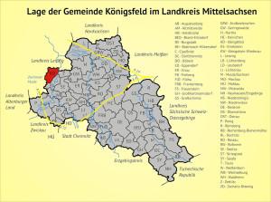Lage der Gemeinde Königsfeld im Landkreis Mittelsachsen