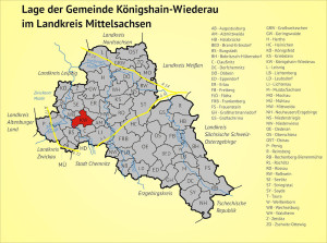 Lage der Gemeinde Königshain-Wiederau im Landkreis Mittelsachsen