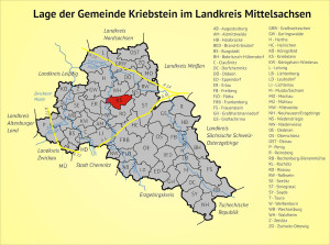 Lage der Gemeinde Kriebstein im Landkreis Mittelsachsen