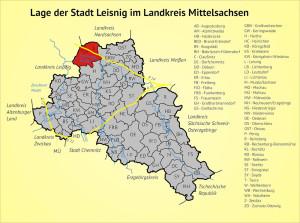 Lage der Stadt Leisnig im Landkreis Mittelsachsen