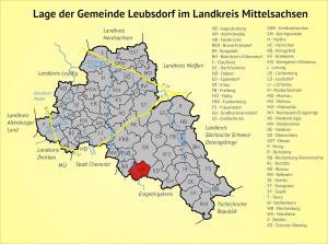 Lage der Gemeinde Leubsdorf im Landkreis Mittelsachsen