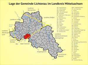 Lage der Gemeinde Lichtenau im Landkreis Mittelsachsen