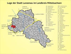 Lage der Stadt Lunzenau im Landkreis Mittelsachsen