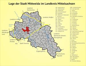 Lage der Stadt Mittweida im Landkreis Mittelsachsen