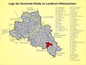 Lage der Gemeinde Mulda im Landkreis Mittelsachsen