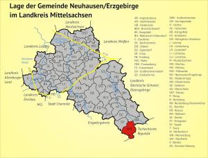 Lage der Gemeinde Neuhausen/Erzgebirge im Landkreis Mittelsachsen